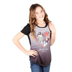 Lori&Jane Big Girls Black Gray Graphic Print Fashion Short Sleeve Top 8-16