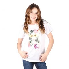 Lori&Jane Big Girls White Graphic Print Short Sleeve Top 10-16