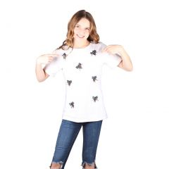 Lori&Jane Big Girls White Beaded Bugs Short Sleeve Top 10-16