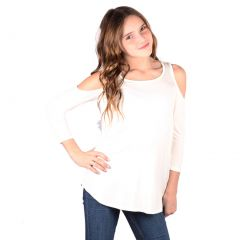 Lori&Jane Big Girls White Cold Shoulder 3/4 Sleeve Loose Top 6-14