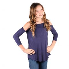 Lori&Jane Big Girls Navy Cold Shoulder 3/4 Sleeve Loose Top 6-14