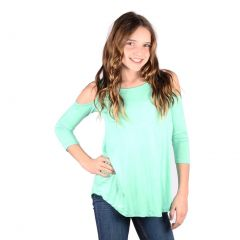 Lori&Jane Big Girls Mint Cold Shoulder 3/4 Sleeve Loose Top 6-14
