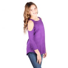 Lori&Jane Big Girls Purple Cold Shoulder 3/4 Sleeve Loose Top 6-14