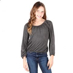 Lori&Jane Big Girls Charcoal Long Sleeves Solid Color Gathered Top 6-14
