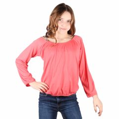 Lori&Jane Big Girls Coral Long Sleeves Solid Color Gathered Top 6-14