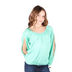 Lori&Jane Big Girls Mint Open Sleeves Solid Color Gathered Top 6-14
