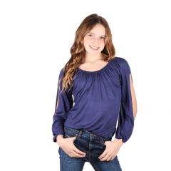 Lori&Jane Big Girls Navy Open Sleeves Solid Color Gathered Top 6-14