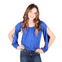 Lori&Jane Big Girls Royal Blue Open Sleeves Solid Color Gathered Top 6-14