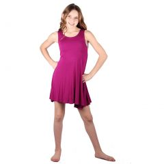 Lori&Jane Girls Magenta Solid Color Loose Fit Sleeveless Trendy Tunic Dress 6-14