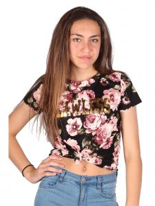 Lori & Jane Big Girls Black Front Tie Short Sleeve Floral Trendy T-Shirt 10-16