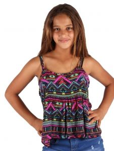 Lori & Jane Big Girls Multi Color Loose Fit Strap Summer Top 6-14