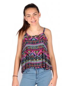 Lori & Jane Big Girls Blue Wine Colorful Straps Summer Tank Top 6-14