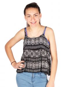 Lori & Jane Big Girls Black White Pattern Straps Summer Tank Top 6-14