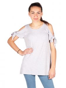 Lori & Jane Big Girls Gray Cold Shoulder Trendy Casual Tunic Top 10-16