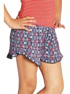 Lori & Jane Big Girls Blue Red Pattern Ruffle Summer Casual Shorts 6-14