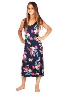 Lori & Jane Big Girls Navy Floral Sleeveless Summer Trendy Casual Dress 6-14