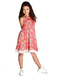 Lori & Jane Big Girls Coral Floral Print Lace Trim Ruffle Casual Dress 6-14