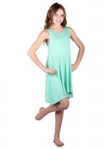 Lori & Jane Big Girls Mint Loose Fit Sleeveless Summer Tank Tunic Dress 6-14