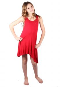 Lori & Jane Big Girls Red Loose Fit Asymmetrical Tank Tunic Dress 6-14