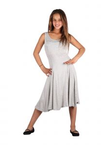 Lori & Jane Big Girls Gray Stripe Sleeveless Trendy Casual Dress 10-16