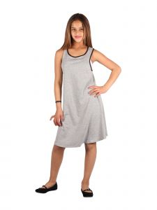 Lori & Jane Big Girls Gray Black Trim Sleeveless Loose Fit Casual Dress 10-16