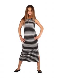 Lori & Jane Big Girls Gray White Stripe Sleeveless Trendy Casual Dress 10-16