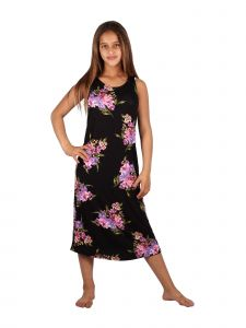 Lori & Jane Big Girls Black Floral Print Sleeveless Trendy Casual Dress 6-14