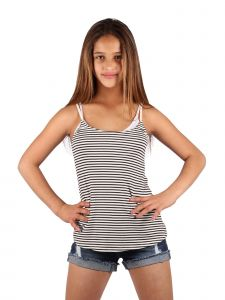 Lori & Jane Big Girls Black White Stripe Open Back Tank Top 10-16