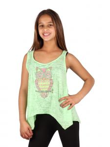 Lori & Jane Big Girls Green Studs Owl Loose Fit Tank Top 6-14