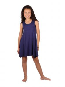Lori & Jane Big Girls Navy Asymmetric Casual Summer Tank Tunic Dress 6-14
