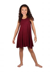 Lori & Jane Big Girls Burgundy Asymmetric Casual Summer Tank Tunic Dress 6-14