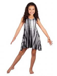 Lori Jane Big Girls Black Tie Dye Trendy Dress 6-14