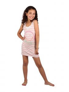 Lori & Jane Big Girls Pink White Stripe Studs Trendy Tank Tunic Dress 6-14