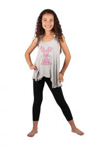 Lori & Jane Big Girls Gray Loose Fit Printed Top Legging 2 Pc Outfit 6-14