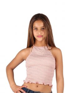 Lori & Jane Big Girls Mauve White Stripe Summer Trendy Cropped Tank Top 10-16