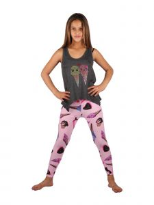 Lori & Jane Big Girls Charcoal Pink Ice-Cream Tank Leggings Outfit Set 6-14