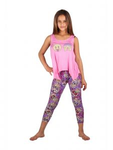 Lori & Jane Big Girls Pink Purple Emoticons Summer Leggings Outfit Set 6-14