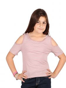 Lori & Jane Big Girls Mauve White Stripe Cold Shoulder Summer Trendy Top 10-16