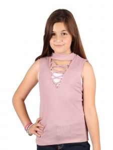Lori & Jane Big Girls Mauve Sleeveless Summer Casual Trendy Top 10-16