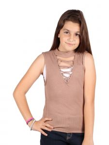 Lori & Jane Big Girls Tan Sleeveless Summer Casual Trendy Top 10-16