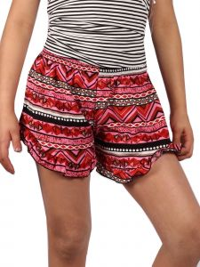 Lori & Jane Little Girls Coral Black White Ruffle Summer Casual Shorts 6-14