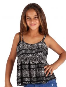Lori & Jane Big Girls Black White Pattern Loose Fit Strap Summer Top 6-14