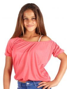 Lori & Jane Big Girls Coral Off Shoulder Short Sleeve Summer Top 6-14