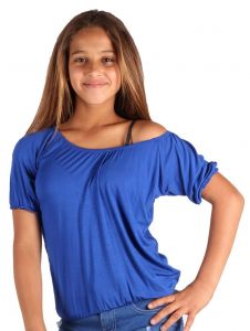 Lori & Jane Big Girls Royal Blue Off Shoulder Short Sleeve Summer Top 6-14