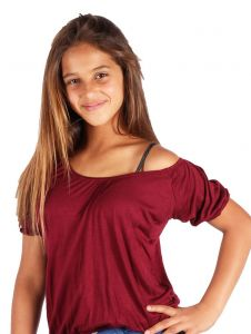 Lori & Jane Big Girls Burgundy Off Shoulder Short Sleeve Summer Top 6-14