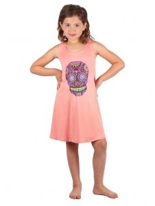 Lori & Jane Big Girls Coral Skull Print Sleeveless Tunic Dress 6-14