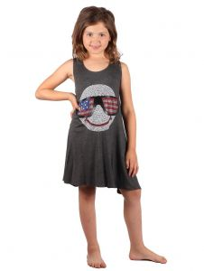 Lori & Jane Big Girls Charcoal Patriotic Studs Sleeveless Tunic Dress 6-14