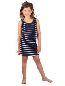 Lori & Jane Big Girls Navy White Stripe Sleeveless Tunic Dress 6-14