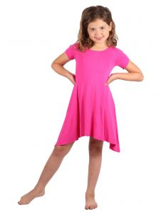 Lori & Jane Big Girls Hot Pink Short Sleeve Asymmetrical Trendy Tunic Dress 10-12