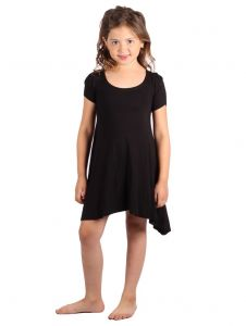 Lori & Jane Big Girls Black Short Sleeve Asymmetrical Trendy Tunic Dress 6-14